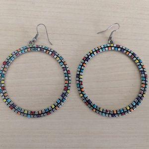 Mosaic Hoop Silver Earrings